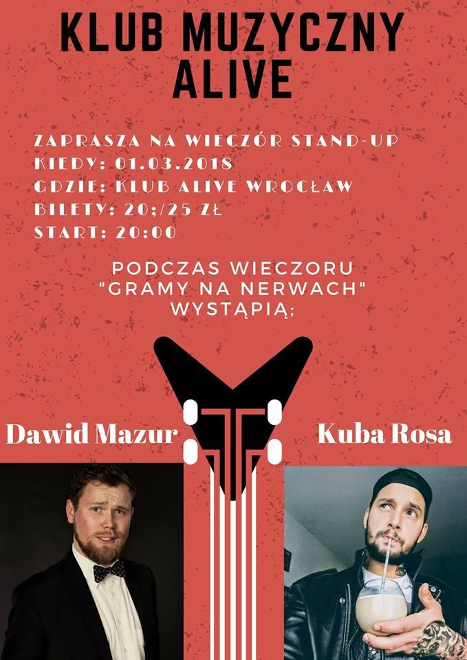 Gramy na nerwach / Stand-up / Kuba Rosa / Dawid Mazur @ Kolejowa 12 | Wrocław | Województwo dolnośląskie | Polska