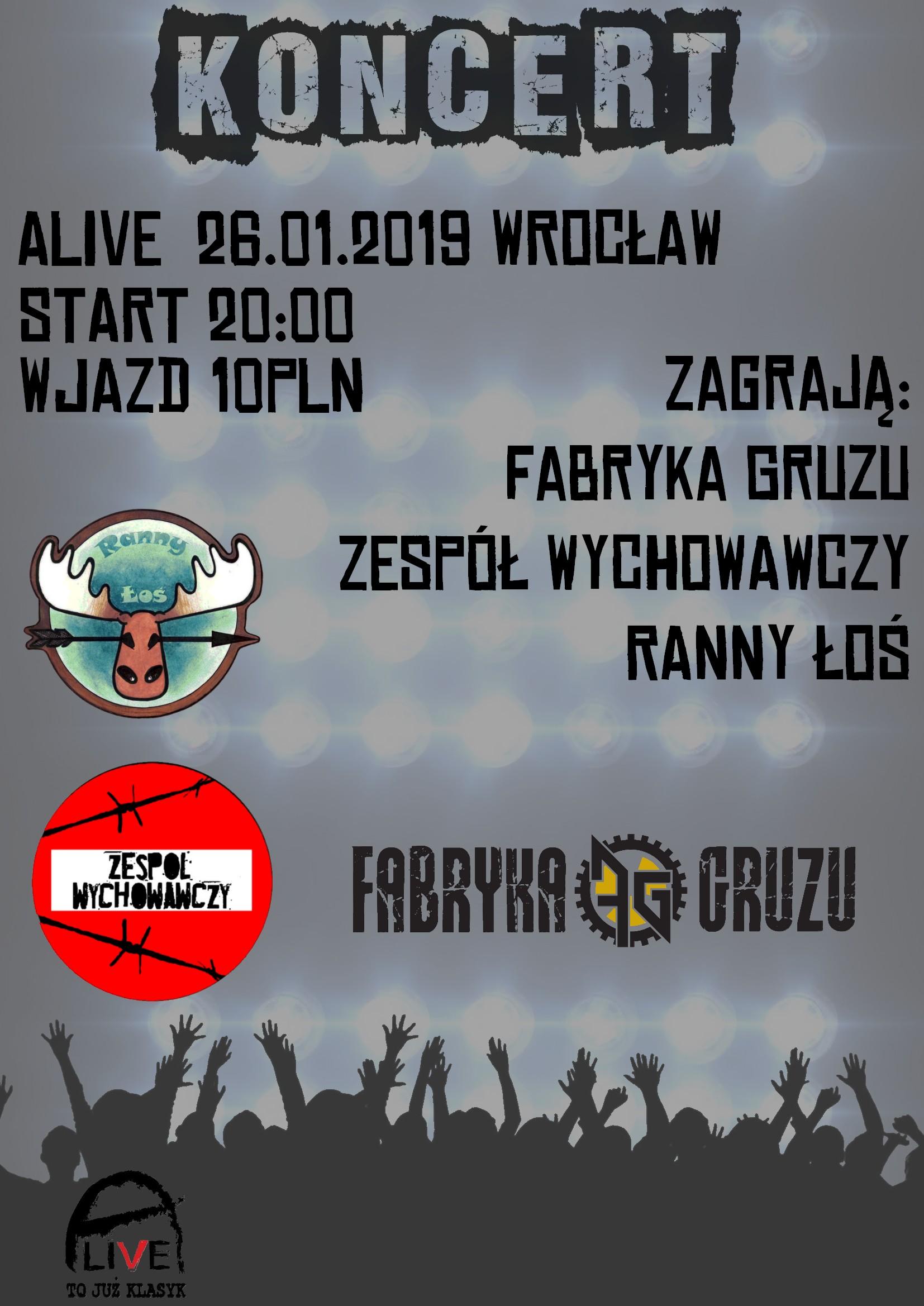 Zespół Wychowawczy / Fabryka Gruzu / Ranny Łoś @ Kolejowa 12 | Wrocław | Województwo dolnośląskie | Polska